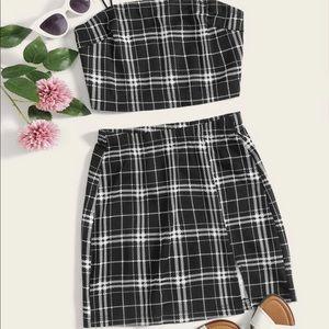 SHEIN matching plaid crop top and skirt set!!!💗✨✨